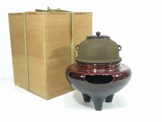 和田美乃助 造 唐銅朝鮮風炉 真形釜添 共箱 茶道具