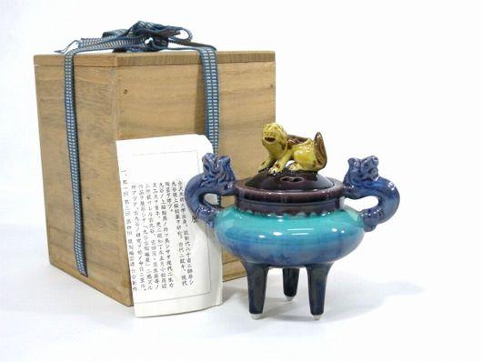 人間国宝 三代 徳田八十吉 彩 釉 香炉 共箱 栞 茶道具