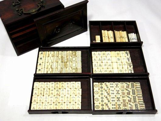 骨材竹背 麻雀牌 唐木箱