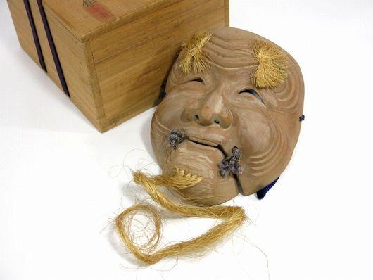 前島秀章作 「翁面」 木彫り 1971年作