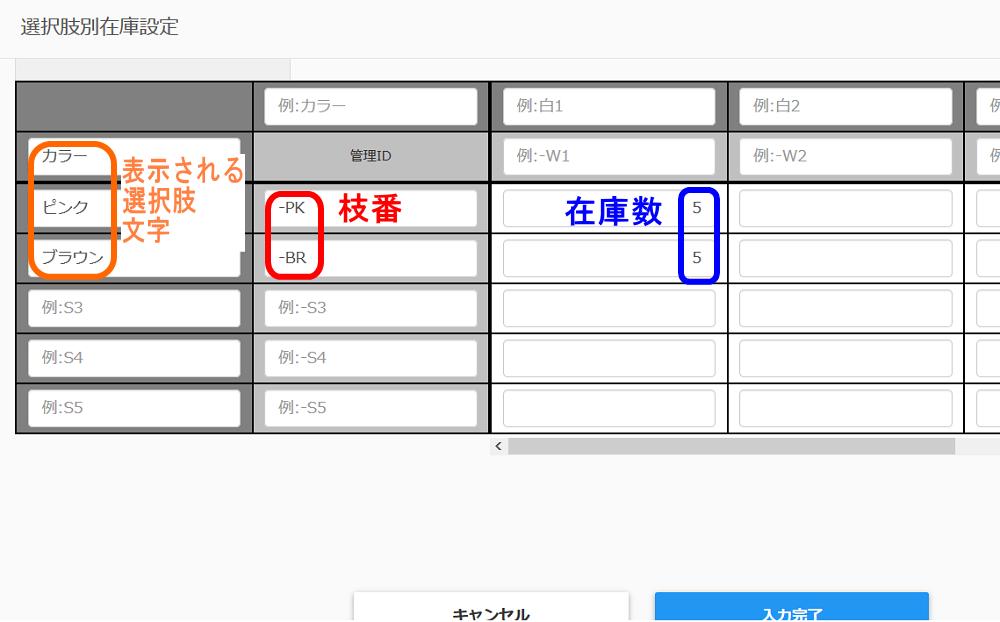 wowma商品登録、選択肢別在庫を設定入力方法