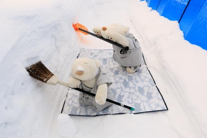 くま、除雪(?)