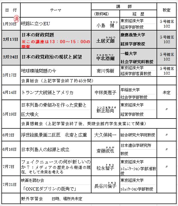 2018年2月会報スケデュール