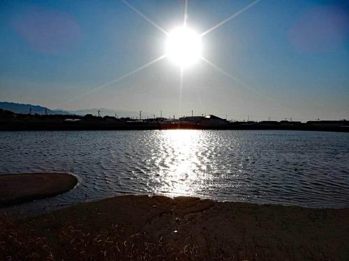 夕日に照らされた水面