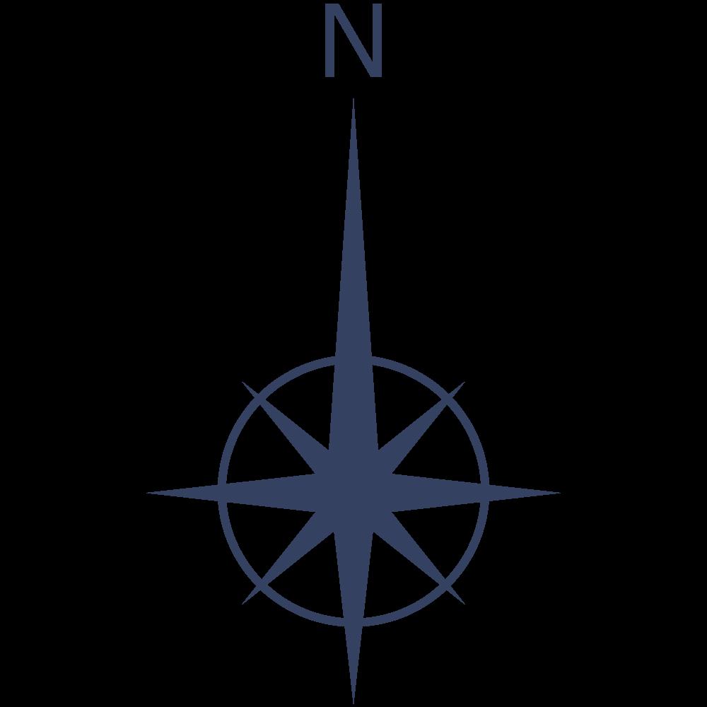 地図の北の方角を示す方位記号のアイコン