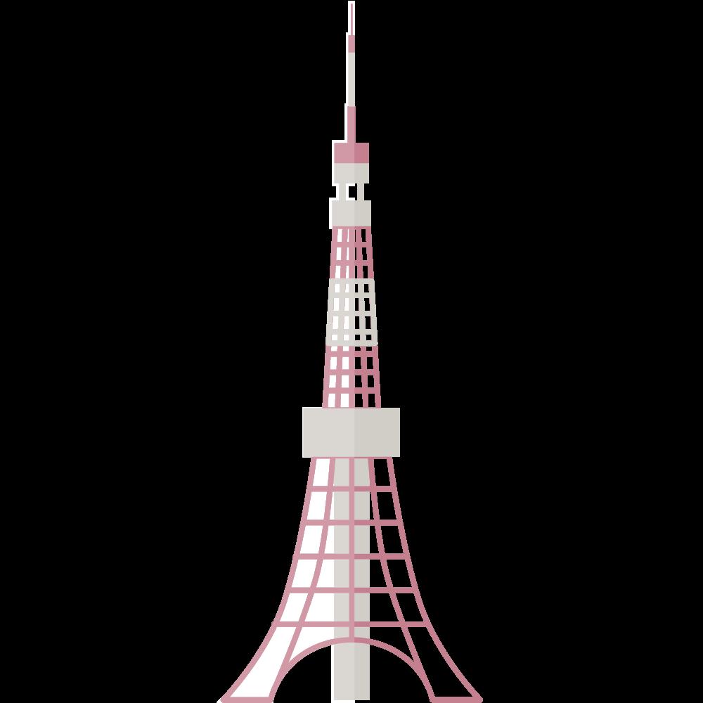 フラットでおしゃれかわいい東京タワーアイコン