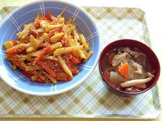 CAI_180118_5046 ジャガイモの人参のキンピラ・春雨入り大根と豚肉の中華風スープ_VGA