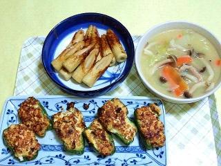 CAI_180125_5051 焼き竹輪・白菜のクリームシチュー・玉葱と茹で玉子のみじん切り入り肉詰めピーマン_VGA