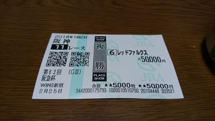 2018年2月25日(日)阪神11R 馬券3