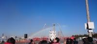 消防出初式会場の虹