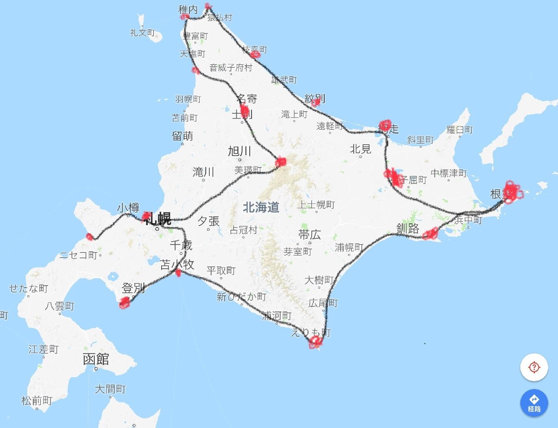 1月17日 良丸北海道移動行程