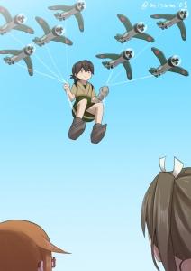 九七式艦攻を携えて空を飛ぶ大鷹