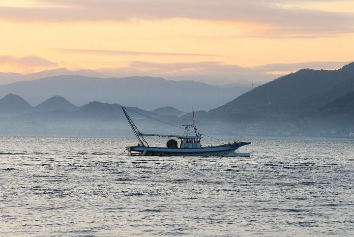 ヒジキ採りをした日の海 船 30 1 4