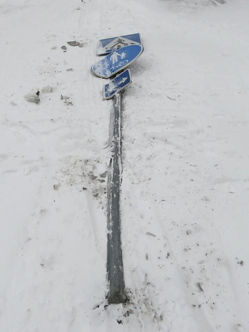 フィンランド 冬 倒れた交通標識