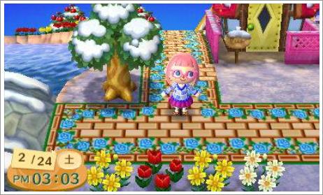 青薔薇と縁ありレンガ道