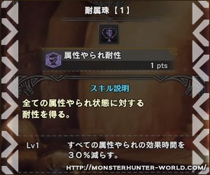 耐属珠 属性やられ耐性 【MHW】モンスターハンターワールド