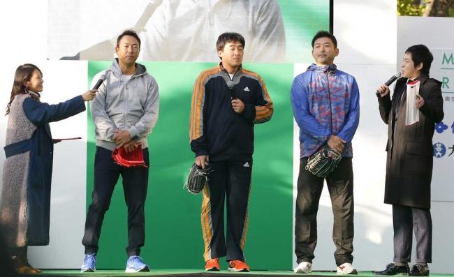 「御堂筋ランウェイ」400mリレーキャッチボールショー 黒田博樹・石井一久・斎藤隆