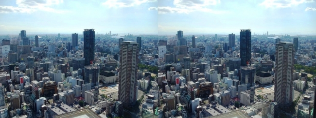 梅田スカイビル空中庭園展望台眺望2017.10.8⑩(平行法)
