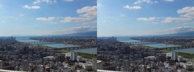 梅田スカイビル空中庭園展望台眺望2017.10.8⑤(平行法)