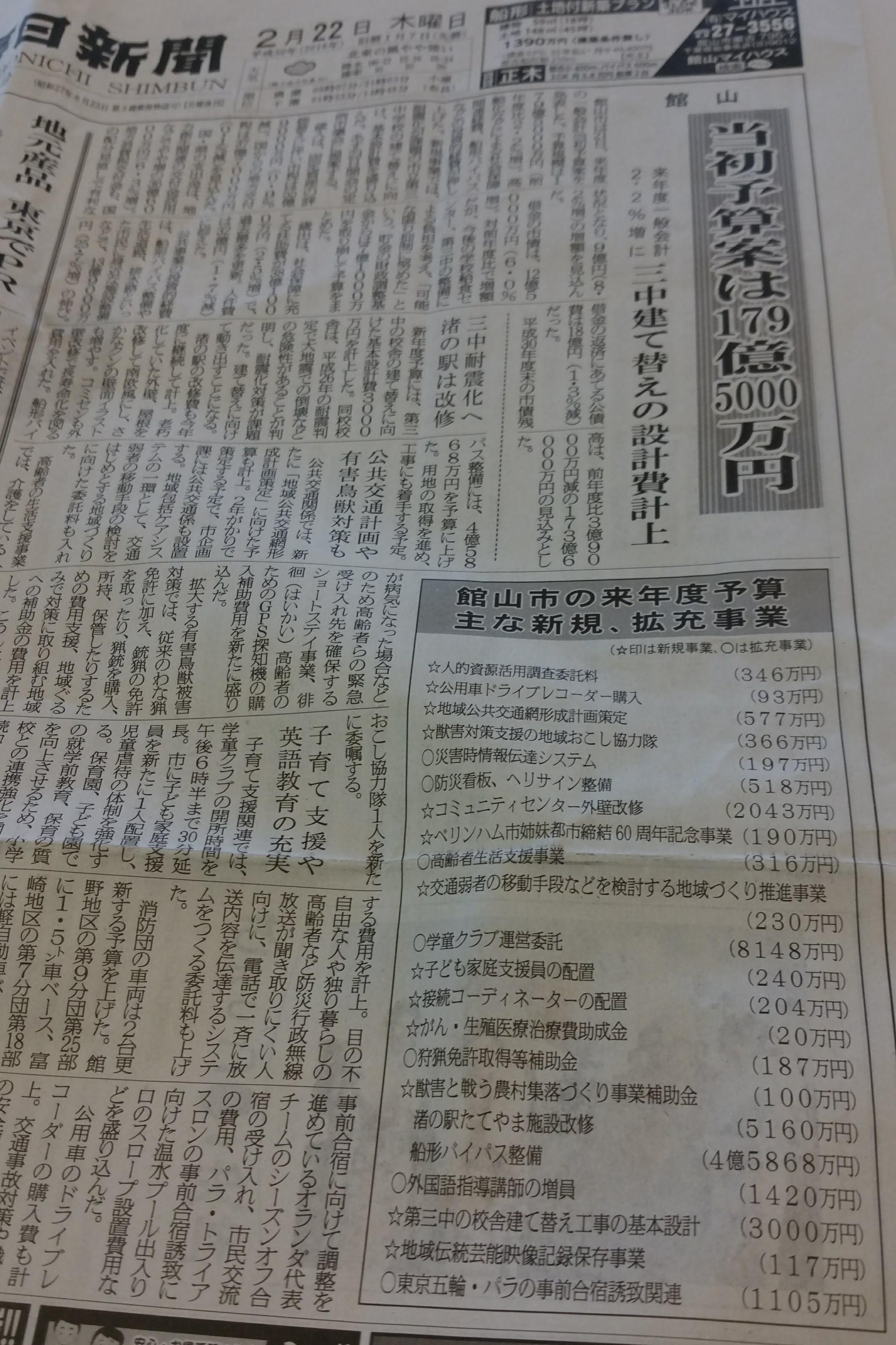 H30予算案 房日新聞