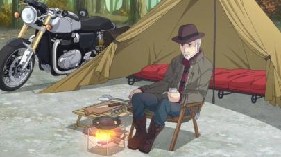 ゆるきゃんΔLaid-Back CampキャンプアウトドアTRIUMPH THRUXTON 1200 R トライアンフ・スラクストンR2018年冬バイクが登場するアニメ