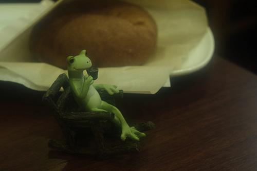 ツバキアキラが撮ったカエルのコポー。食後のコーヒーを楽しむコポタロウ。