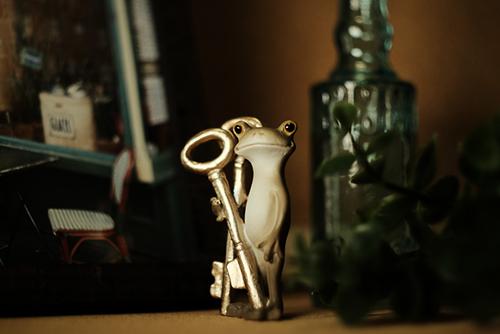 ツバキアキラが撮ったカエルのコポー。アンティークな暗がりに佇む、鍵を持ったセピアのコポタロウ。