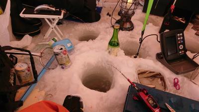 桧原湖 氷上