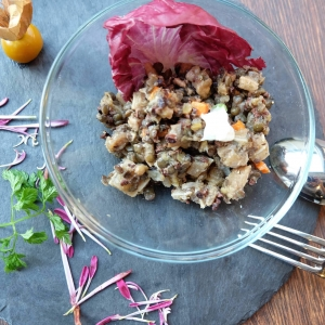 カカオニブとレンズ豆のサラダ