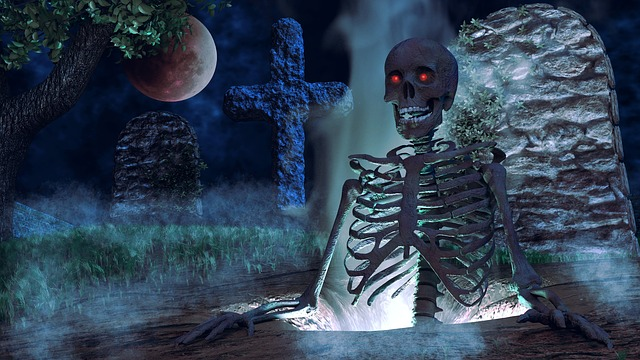 ガイコツと墓