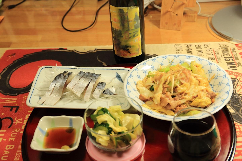 ブログ 夕食 しめ鯖 味噌豚炒め.jpg