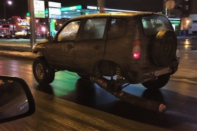Russian truck with a log instead of wheel