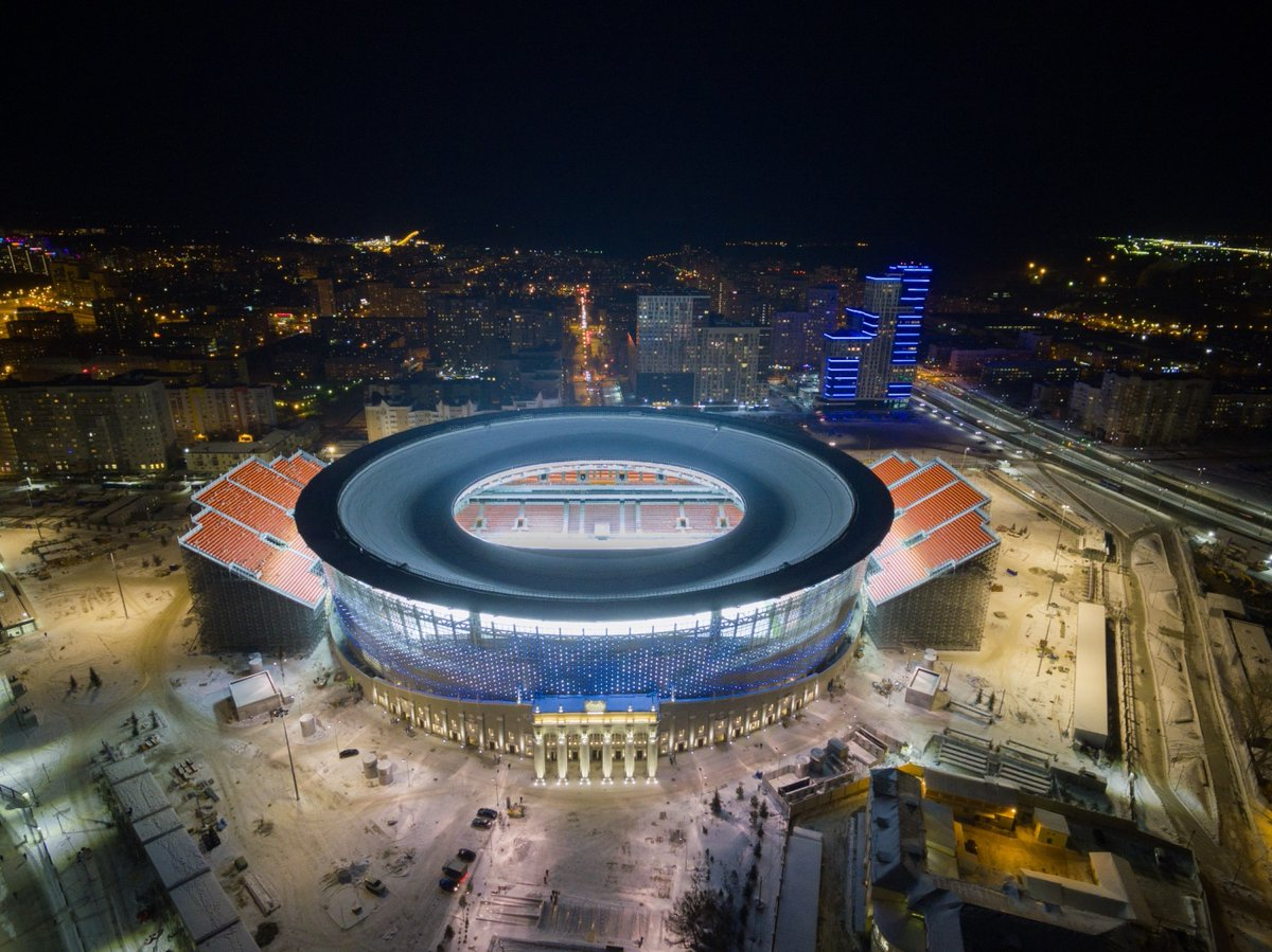 Ekaterinburg Arena, home of FC Ural in the Russian Premier League in Ekaterinburg, Russia Additional seats being added