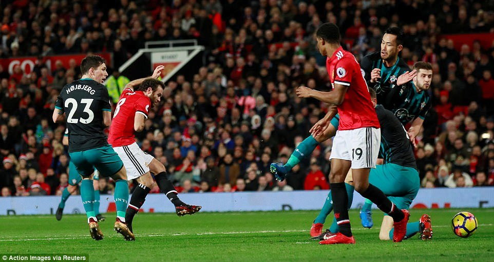 Mata attempts a shot at goal as United built up the pressure during the opening period