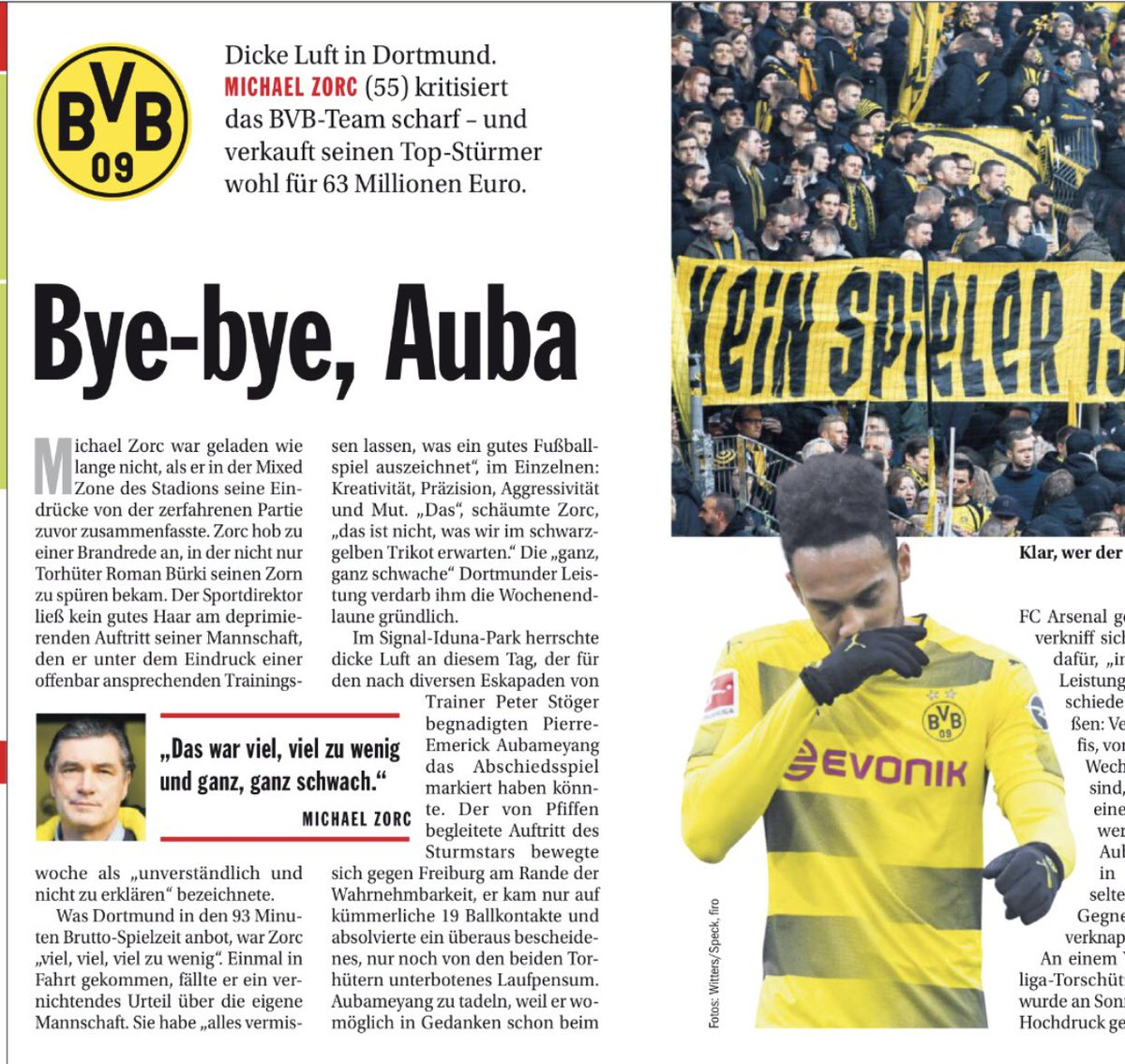 Kicker obviously think Aubameyang is going to Arsenal