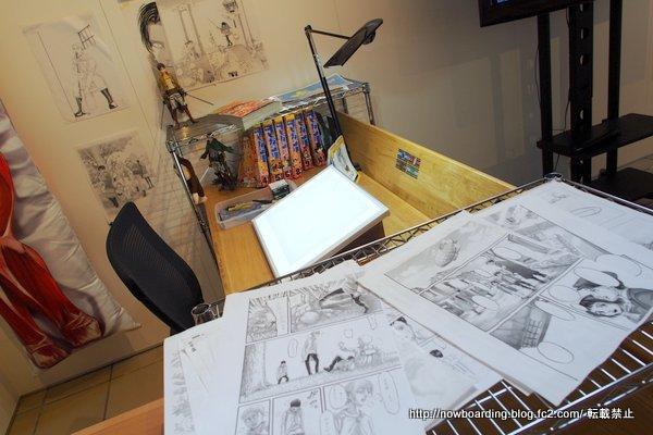 キャラリーおおやま 作者の作業机
