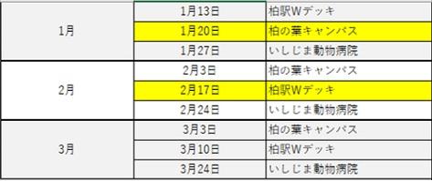 2017年度譲渡会予定表