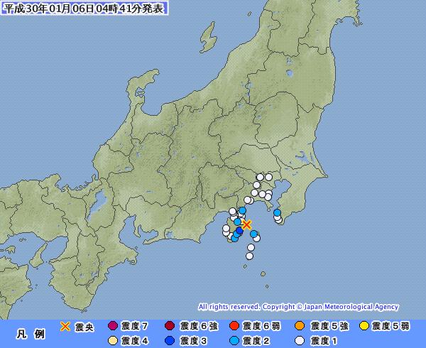 【伊豆半島】静岡県で「最大震度3」 東京、神奈川では「震度2」の地震発生 M4.4 震源地は伊豆半島東方沖 深さ約10km