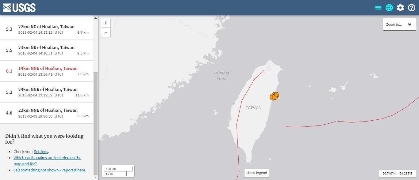 台湾で「M6.1」の地震発生