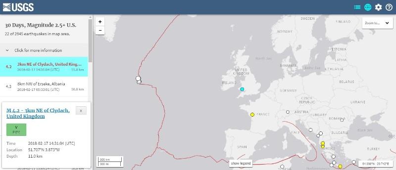 【イギリス】ウェールズで「M4.2」の地震発生…過去10年で最大規模の地震
