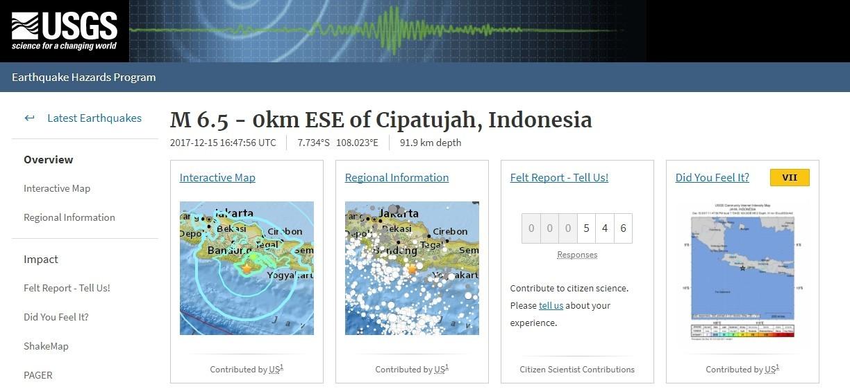 【インドネシア】ジャワ島沿岸部で「M6.5」の地震発生