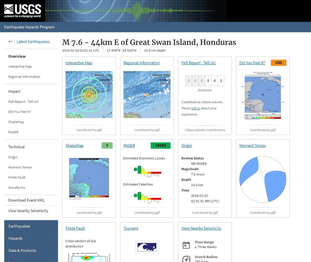 【カリブ海】中米ホンジュラスでM7.6の地震発生