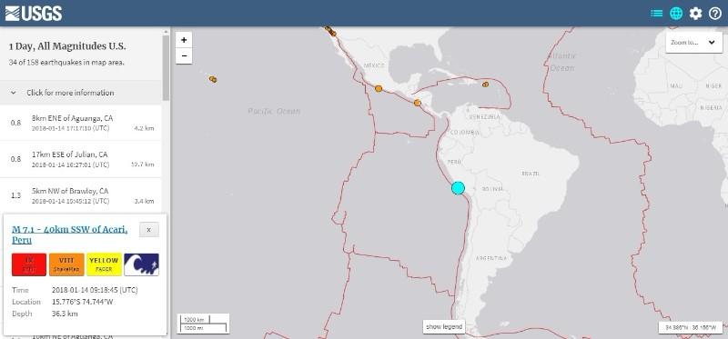 【USGS】南米ペルーで「M7.1」の地震発生