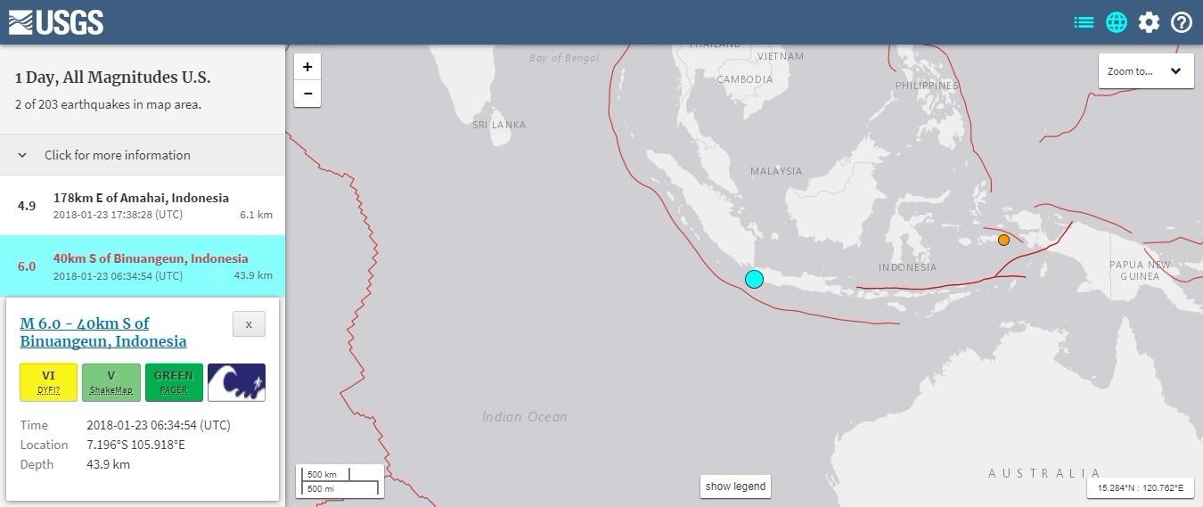 【インドネシア】23日、ジャカルタでも「M6.0」の地震が発生し、市民らがパニックに