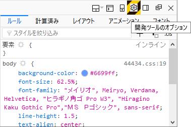 Firefox 開発ツールのオプション