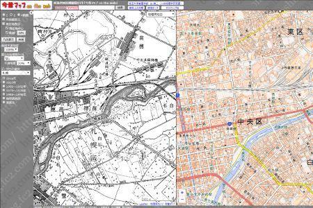 昔と現在の地図を比較できる無料サービス「今昔マップ on the web」