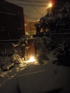 雪が積もったウリン材を利用したウッドデッキ :エクステリア横浜(神奈川県・東京都の外構工事専門店)
