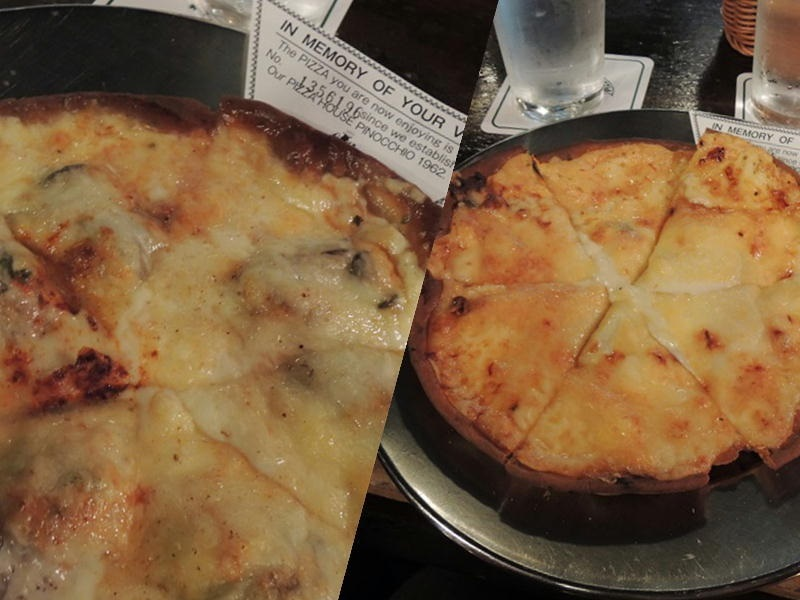 オイスターピザとピノッキオピザ