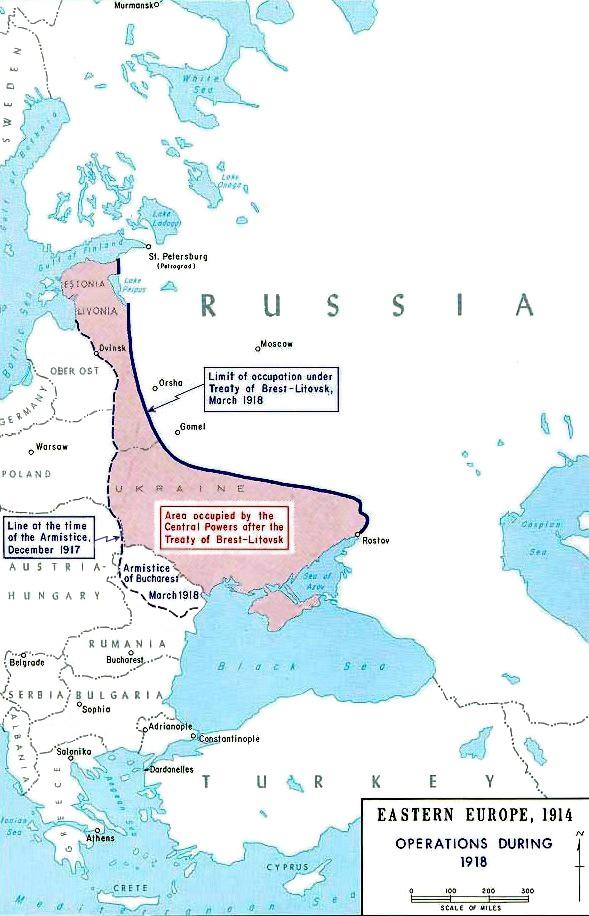 条約によってロシアがドイツに割譲した地域。ドイツの影響下におかれた地域にとってはこれが国家独立の保障となった。