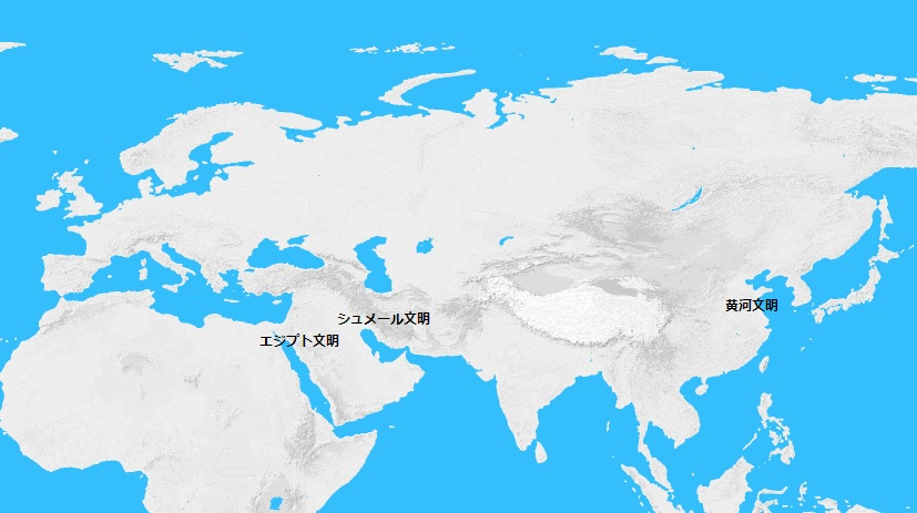紀元前4000年頃の世界地図